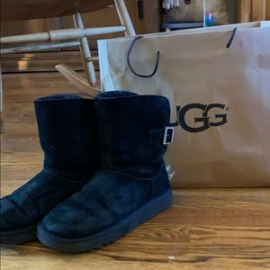 Ugg Black Boots with Sparkle Buckle Size 8